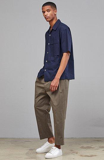 [CASUAL] 오픈카라 반팔 장식 포켓 셔츠