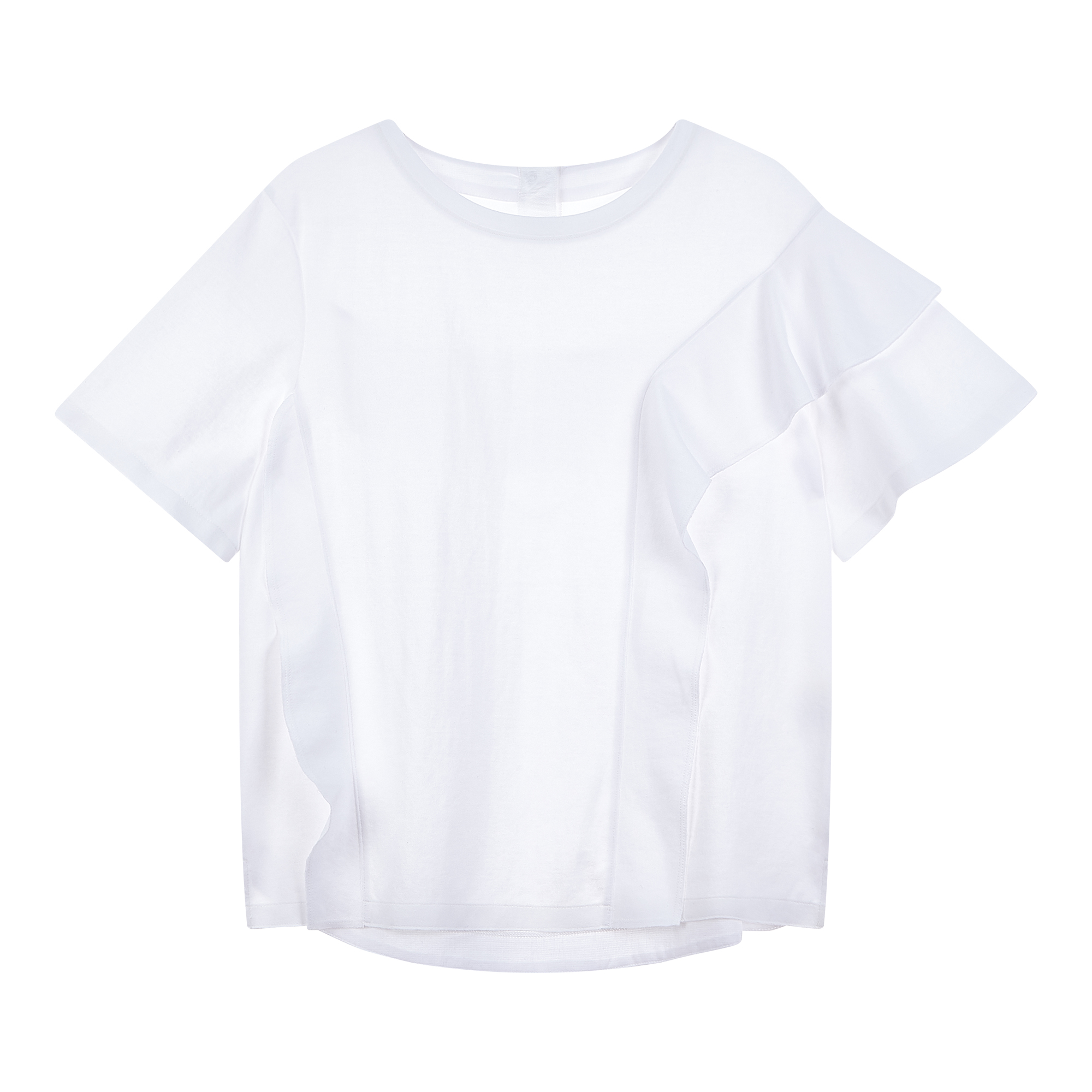 러플 장식 라운드 티셔츠