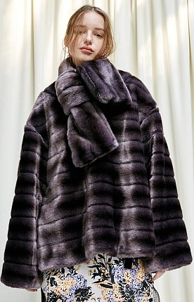 Faux-mink top with scarf