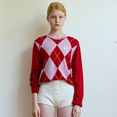ARGYLE KNIT TOP - RED
