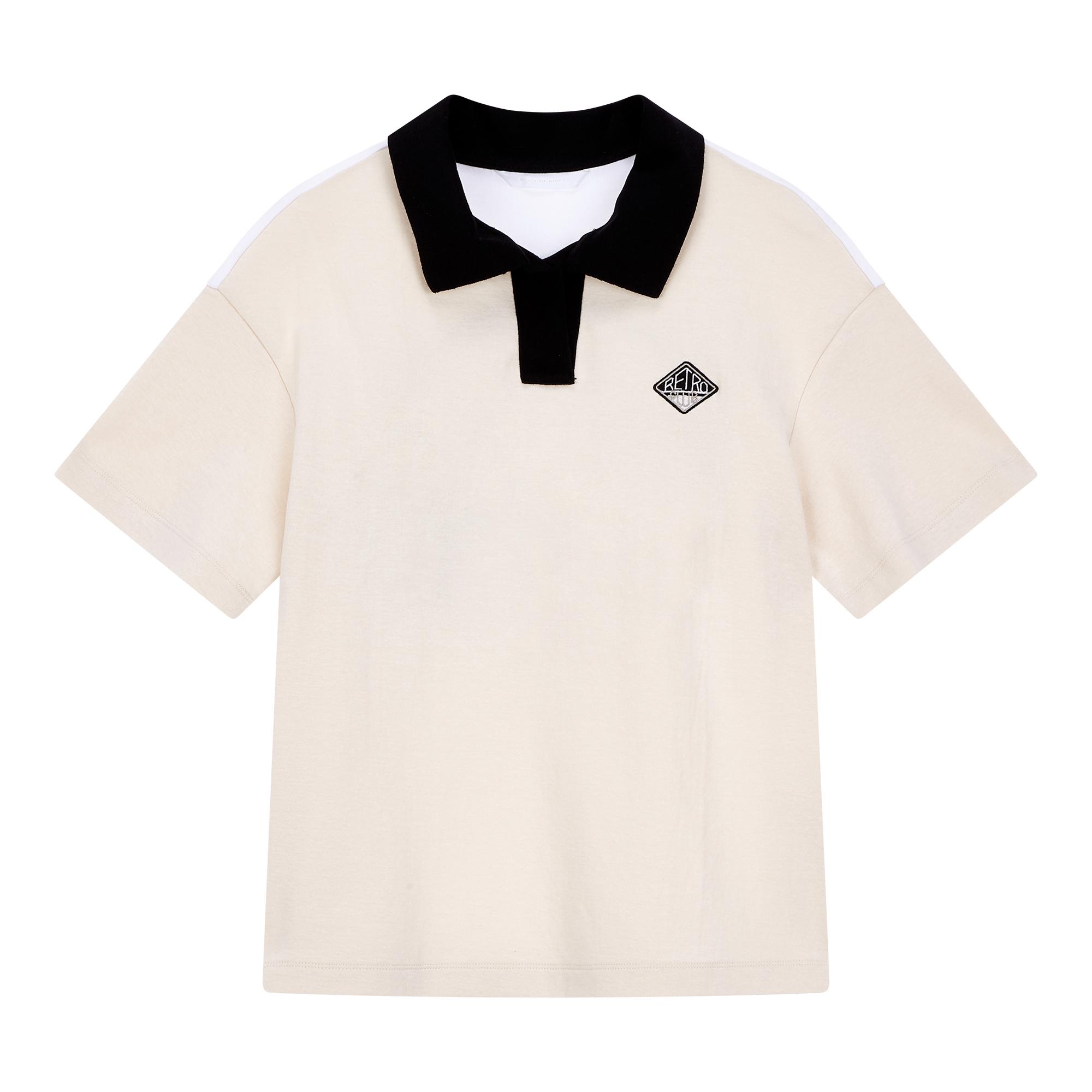 [THE RETRO CLUB] 루시 배색 카라 반팔 티셔츠