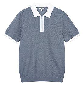 반 집업 배색 카라 티셔츠 (TOBAGO)