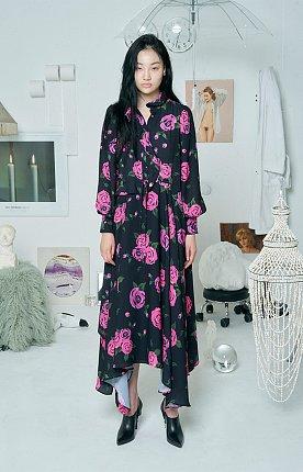 ROSE RUFFLE DRESS [BLACK]