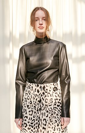 Faux-leather high neck top