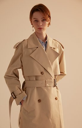 [ ICONIC ] Trench D Classic Cotton  Cream Beige