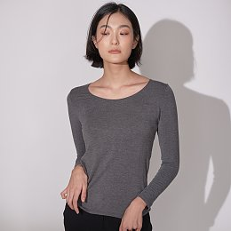 자주 온 여성 U넥 티셔츠