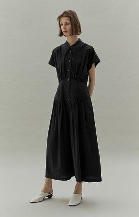 WAIST SHIRRING DRESS - BLACK
