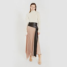 ASYMMETRIC PLEATED LONG SKIRT (BEIGE)