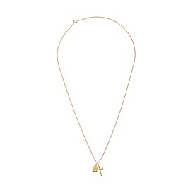 Dreamer Cross And Oval Necklace_GOLD