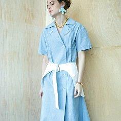 Hip Skirt Belt Dress [Vintage Sky Blue]