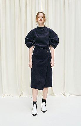 Gathered crescent sleeved corduroy midi dress