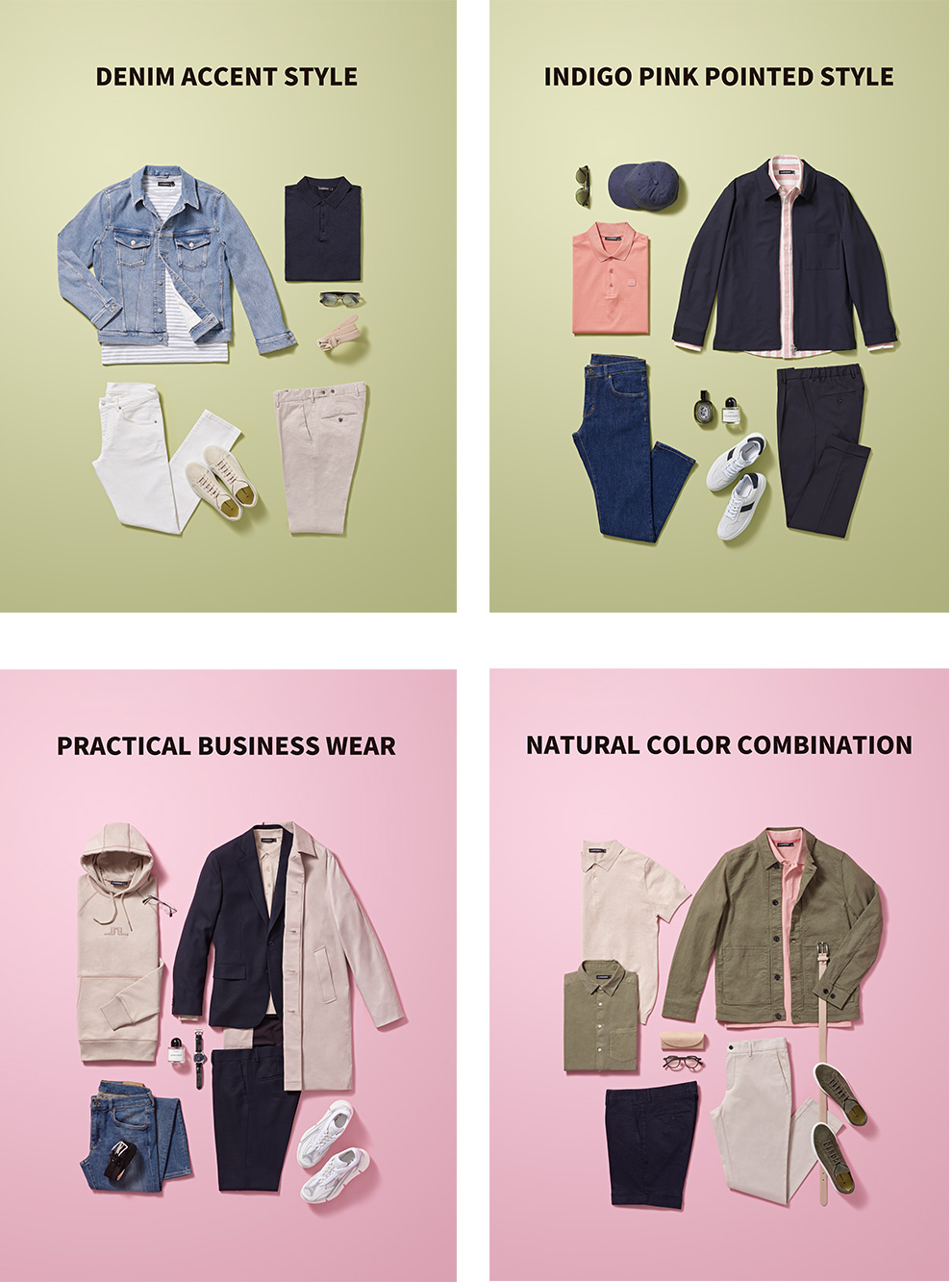 DENIM ACCENT STYLE, INDIGO PINK POINTED STYLE, PRACTICAL BUSINESS WEAR, NATURAL COLOR COMBINATION