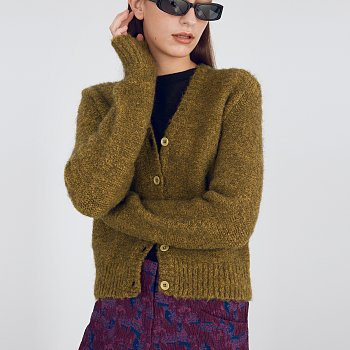 Boucle Knit Cardigan_Olive