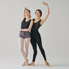 GLOSSY BLACK/MAT BLACK REVERSIBLE DANCE LEOTARD