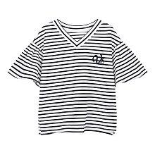 스트라이프 패턴 브이넥 티셔츠