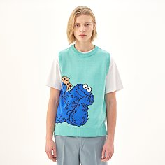 [SS20 SV X Sesame Street] Cookie Monster Knit Vest(Mint)