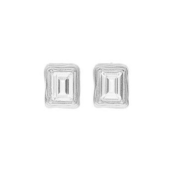 [홍진영,문별 착용]1930 Small Frame Crystal Earrings_SILVER