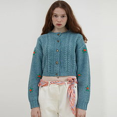 [BC20AWKN32]FLOWER EMBROIDERY CABLE KNIT CARDIGAN[BLUE]
