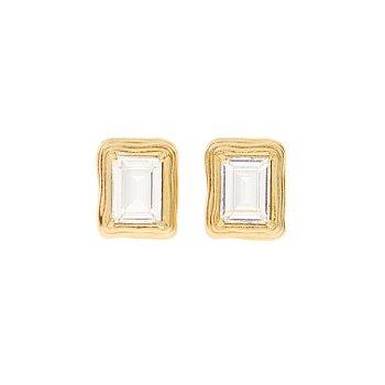 [화사,신혜선,박시연,박신혜 착용] 1930 Small Frame Crystal Earrings_GOLD