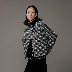Jacket Round Crop Classic Check Wool Blend Black