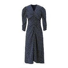 Front shirring dress - Navy