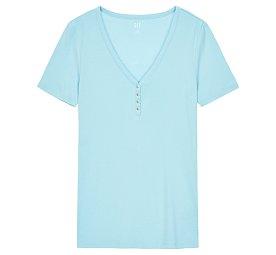★갭 여성 21년 SPRING★ 반 버튼업 브이넥 숏 티셔츠