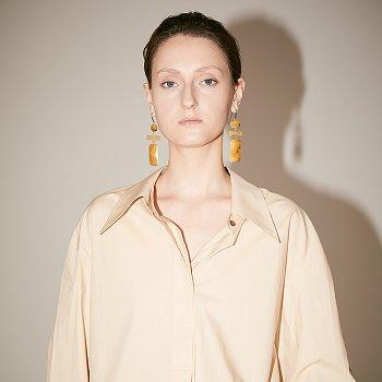 [손나은 착용] LYES Oversized Double Collar Cotton-Poplin Shirt_Beige