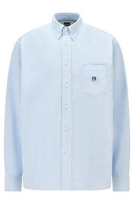 [BOSS X Russell Athletic] 로고 디테일 옥스포드 코튼 릴렉스 핏 셔츠