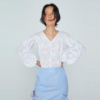 Shirring Long Sleeve Top / White