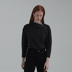 ASYMMETRIC COLLAR PUFF SLEEVE BLOUSE (CHACOAL)
