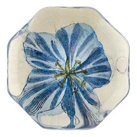 [John Derian] Blue Geranium 8각형 유리 문진
