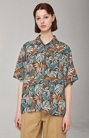 리프 하와이안 프린트 셔츠