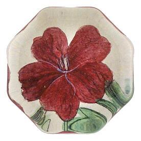 [John Derian] Red Geranium 8각형 유리 문진