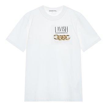 체인 장식 볼드넥 티셔츠
