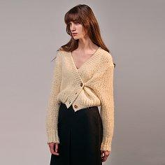 Alpaca-Blend Volume Knit Cardigan (CREAM)