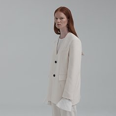COLLARLESS SINGLE JACKET (CREAM)