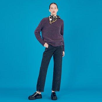 Boucle Oversized Sweater_Purple