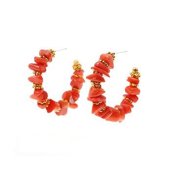 BONBON Pebble Gemstone Hoop Earrings_CORAL
