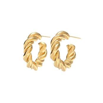[남자친구 송혜교 착용] Midnight Sun Small Braid Hoop Earrings_GOLD