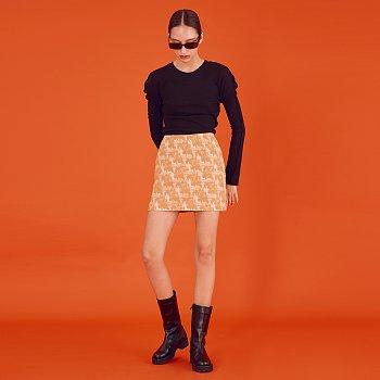 Jacquard Mini Skirt_Yellow