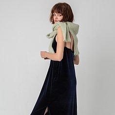 Color strap velvet dress_NAVY