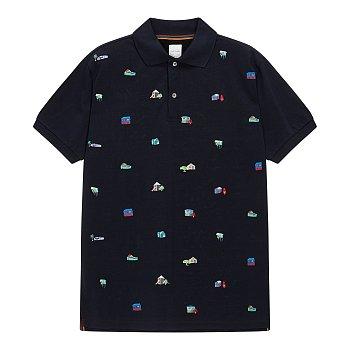 하우스 엠브로이더드 하프 피케 셔츠