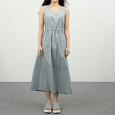 WRD058 라이트 코튼 벨트 슬리브리스 드레스(애쉬 블루)