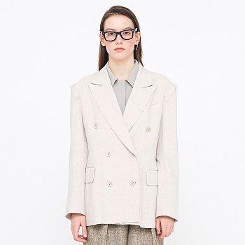 Zigzag Linen Jacket_Light Beige