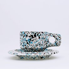 [Fabrik Pottery] 스플래쉬 플랫 컵 & 소서 세트 Mint Blue & Black (BOONTHESHOP Exclusive)