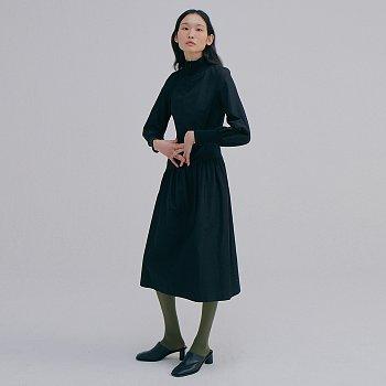 Zip-up Rib Dress_Black