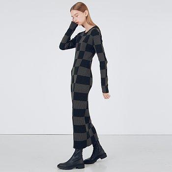 Grid Knit Dress_Dark Green