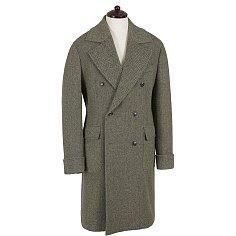 Herringbone Check Polo Coat (Brown)