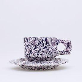 [Fabrik Pottery] 스플래쉬 플랫 컵 & 소서 세트 Violet & Navy Blue