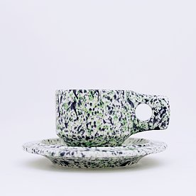 [Fabrik Pottery] 스플래쉬 플랫 컵 & 소서 세트 Apple Green & Navy Blue